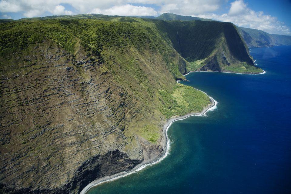 Hawaii Molokai, North Shore cliff coast line.