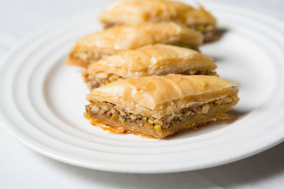 baklava pastry and filo sheets Baklava is a rich and heavenly sweet dish traditionally prepared in large baking trays with layer upon layer of flaky golden sheets of filo pastry.