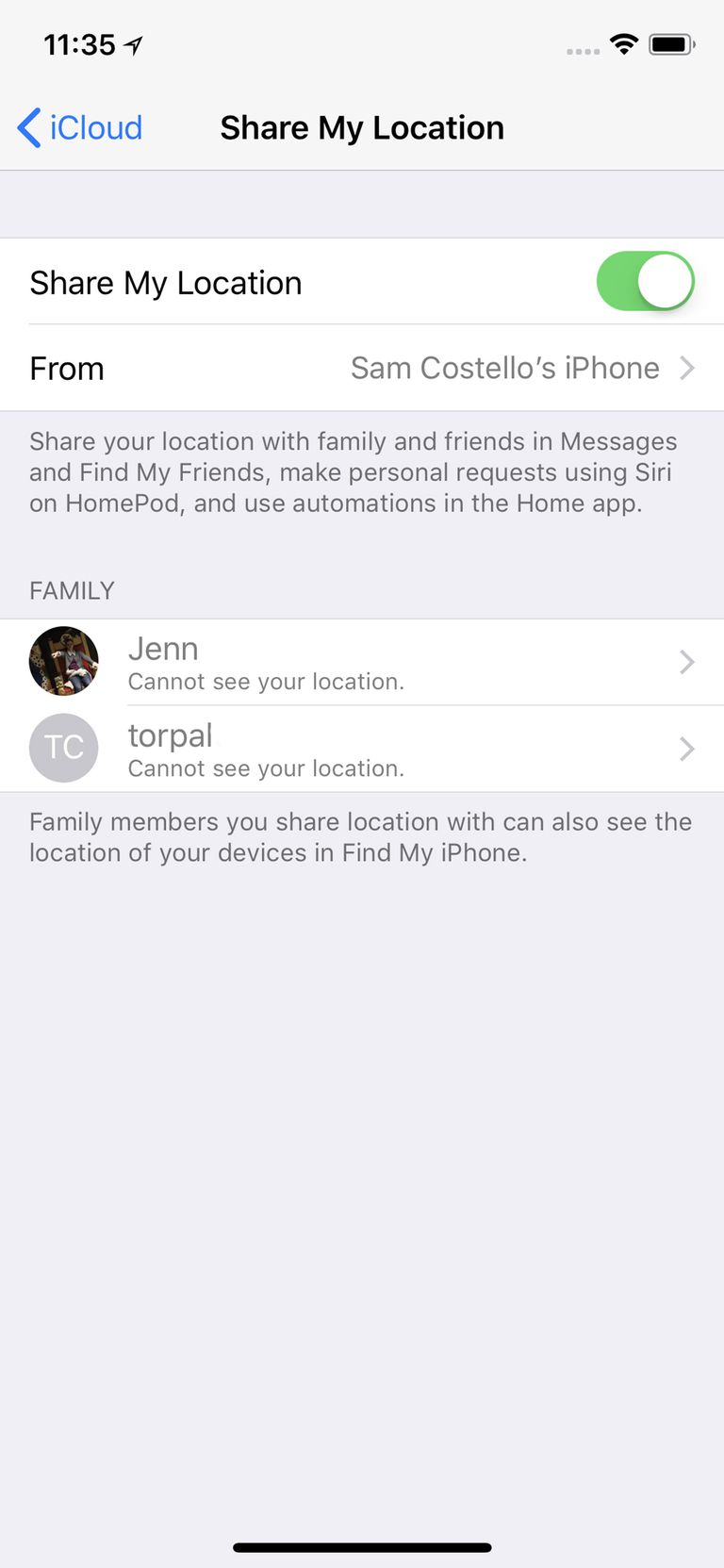 share location with iCloud