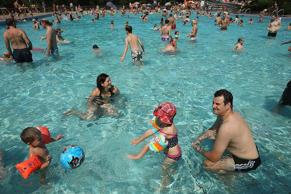 People playing in a pool
