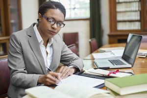 A lawyer at her desk.