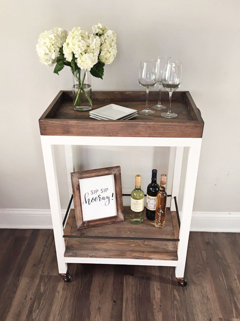 diy wood bar. DIY Wood Bar Cart 16 Stylish And Practical Carts