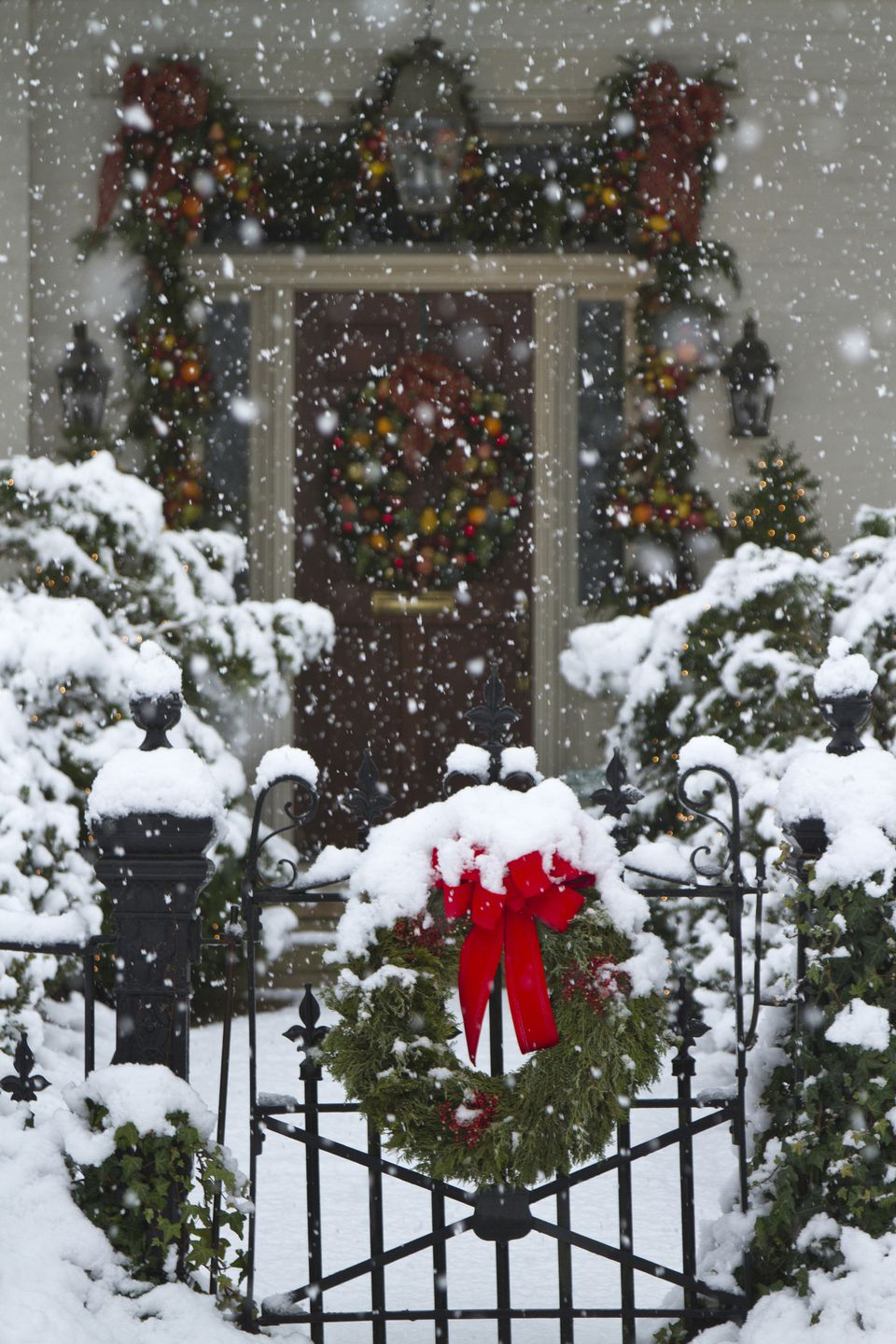 Christmas wreaths covered with snow, Huntsville, Alabama, USA