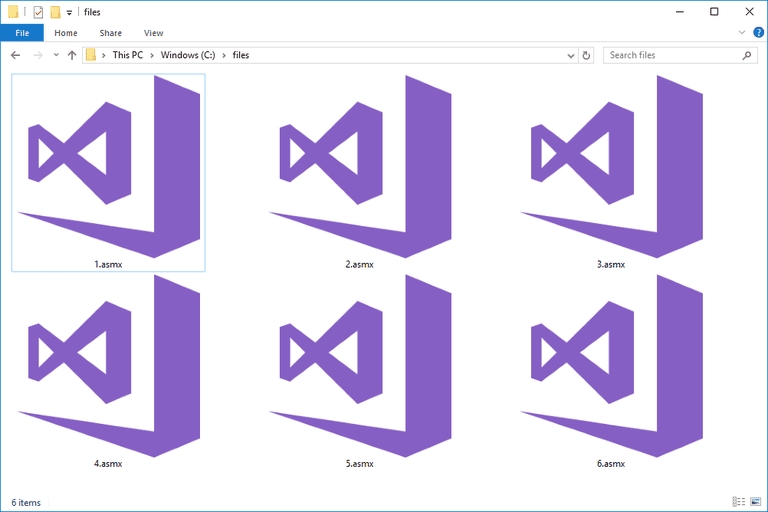 Screenshot of several ASMX files in Windows 10 that open with Microsoft Visual Studio