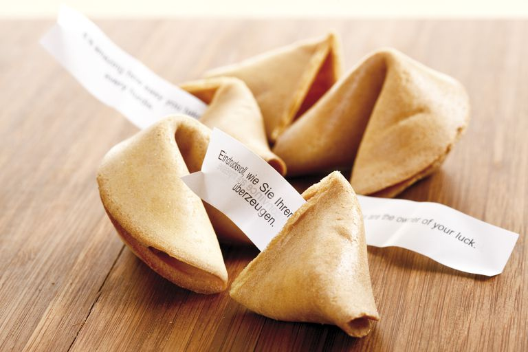 Fortune cookies, elevated view, close-up