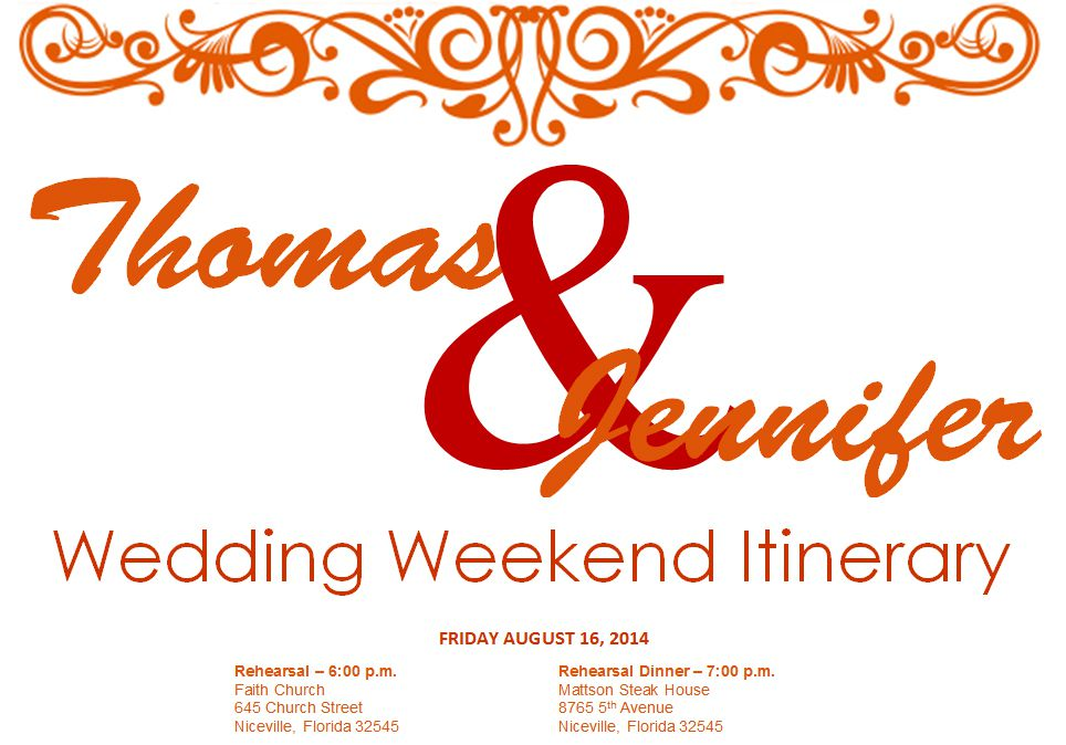 Free wedding itinerary templates and timelines pronofoot35fo Choice Image