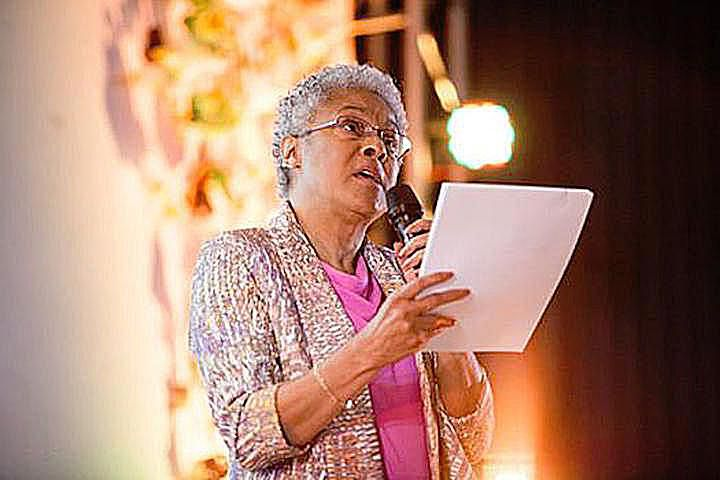 Patricia Hill Collins, noted black feminist sociologist, speaks at an event.