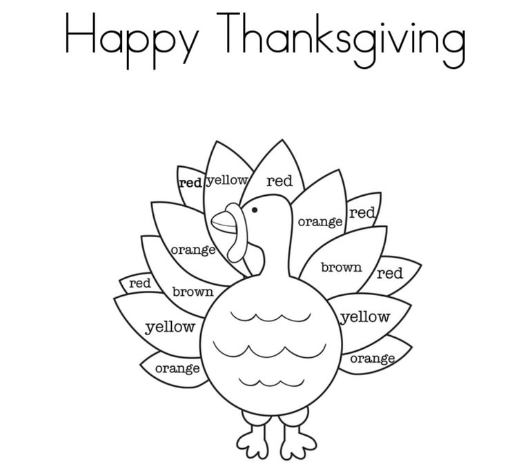 A Turkey Coloring Page That Says Happy Thanksgiving