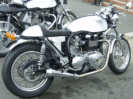 A classic Triton outside the Ace Cafe in London.