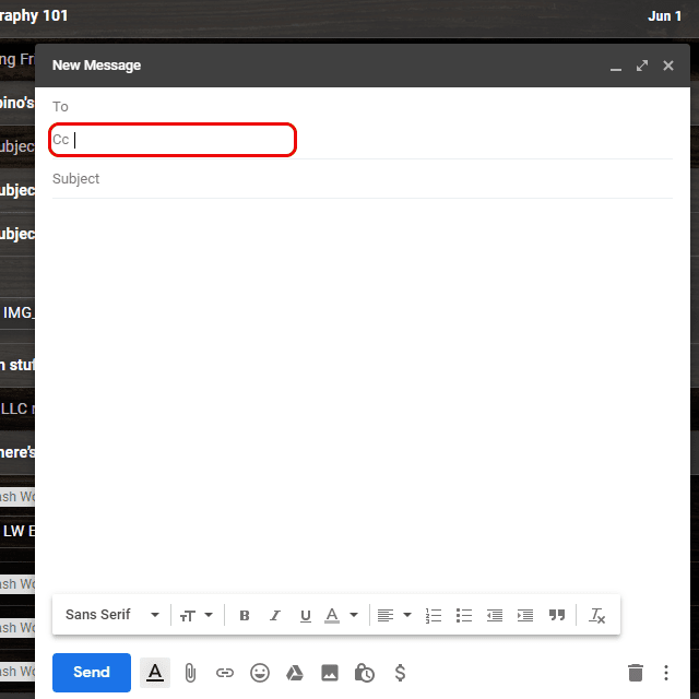 Screenshot of the Cc field of an email in Gmail