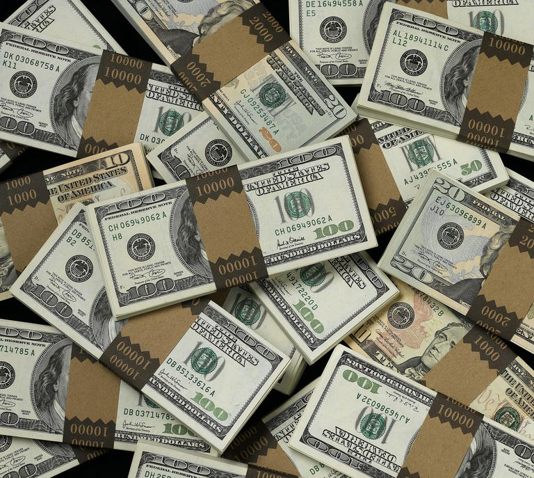 Bundles of U.S. cash in various denominations