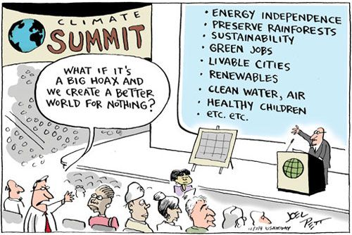 Image result for cartoon climate change hoax