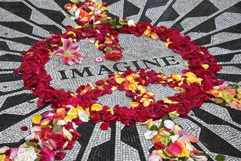 Flower Petals on John Lennon Memorial