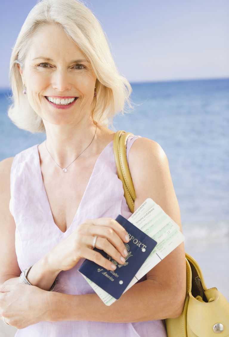 Photo of a woman holding a passport, illustrating About.com's International Travel Sweepstakes List.