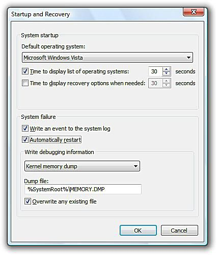 Screenshot of the Automatically Restart on System Failure Option in Windows Vista