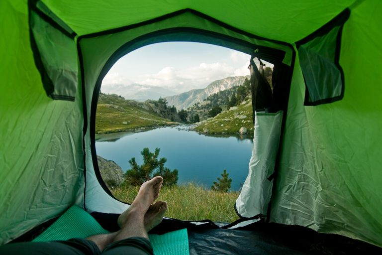 Mountain Pyrenees landscape view from a tent
