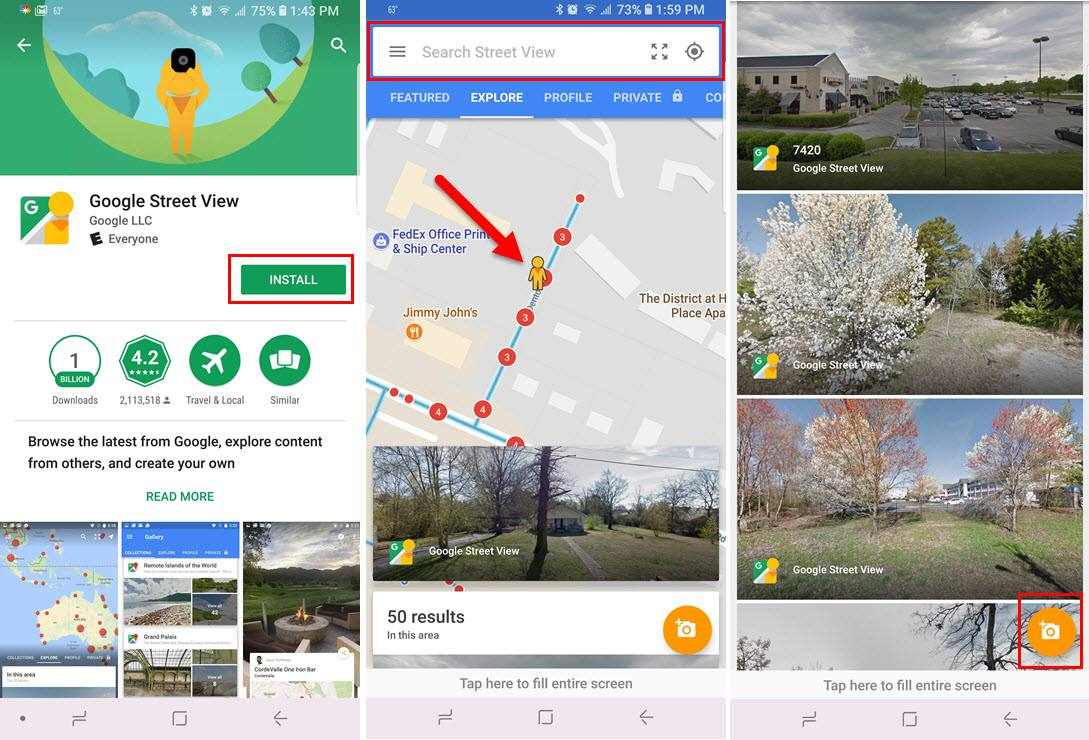 Screenshots of the Google Street View app for Android