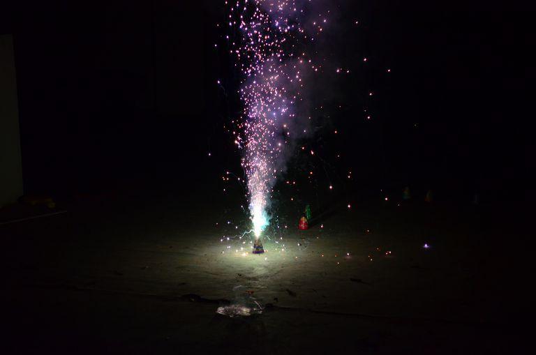 You can make a fountain firework using the homemade smoke bomb recipe.