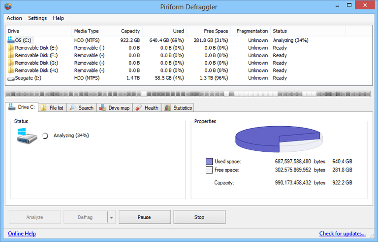 Screenshot of Defraggler v2.20.989 in Windows 8