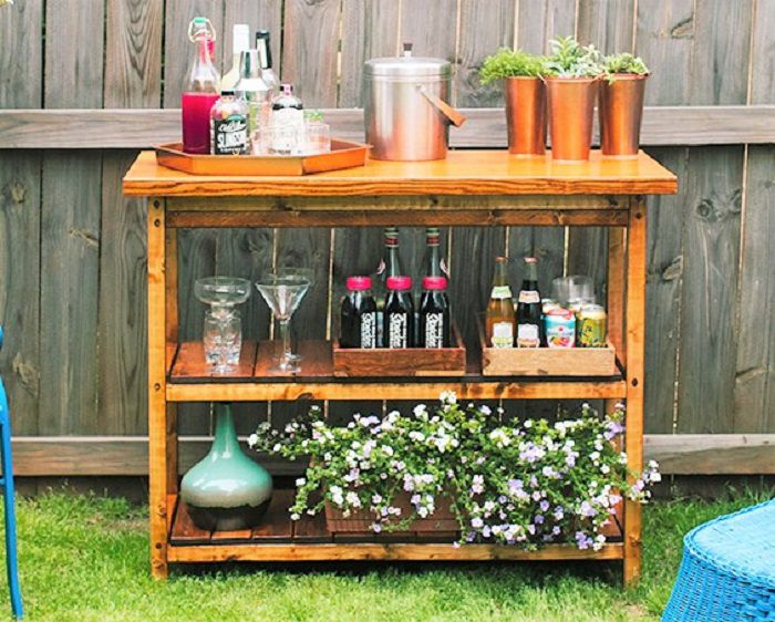 diy wood bar. Natural Wood DIY Bar Cart 10 Carts