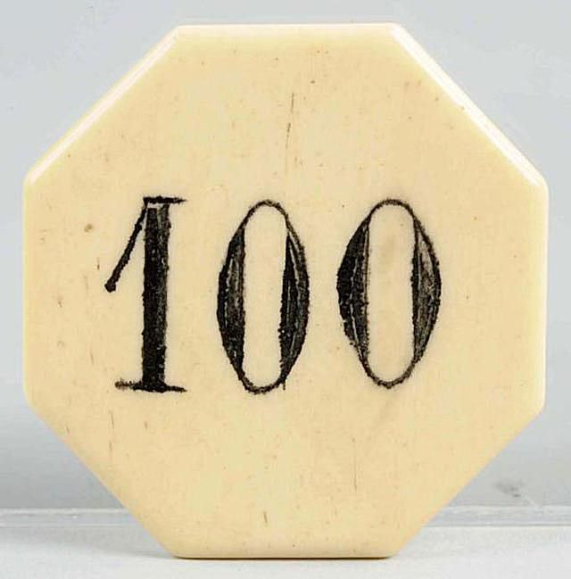 Antique ivory $100 poker chip, sold for $150 in March, 2013