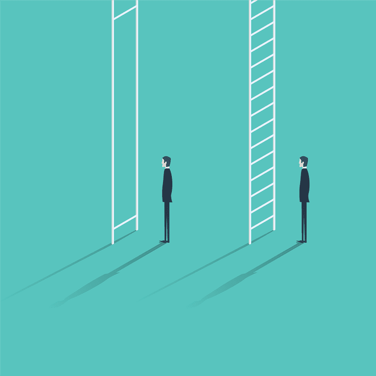 illustration of two men standing in front of ladders