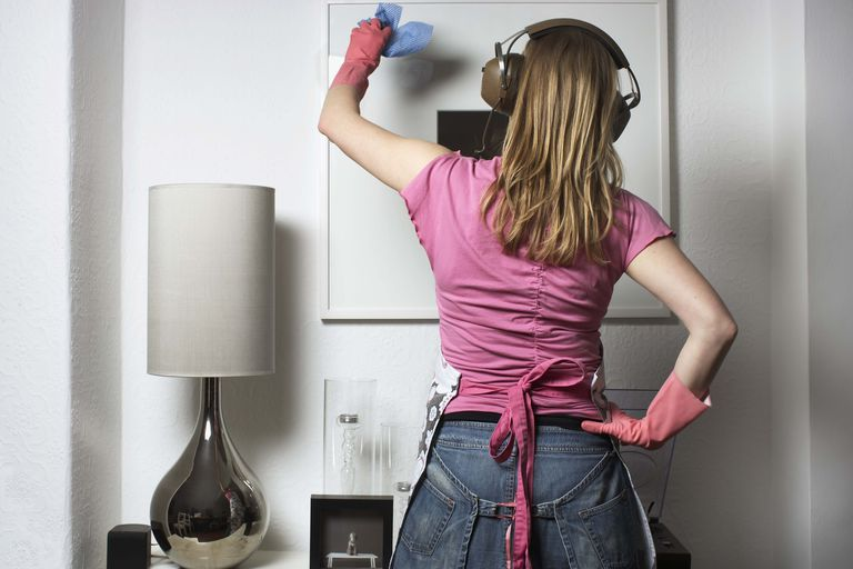 Cleaning with music can relieve stress