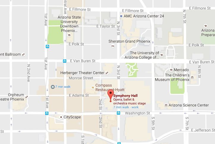 Symphony Hall In Phoenix Map Address And Directions - Phoenix map