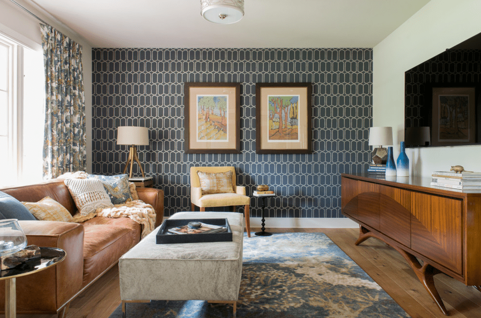 geometric living room accent wall - Accent Wall Living Room