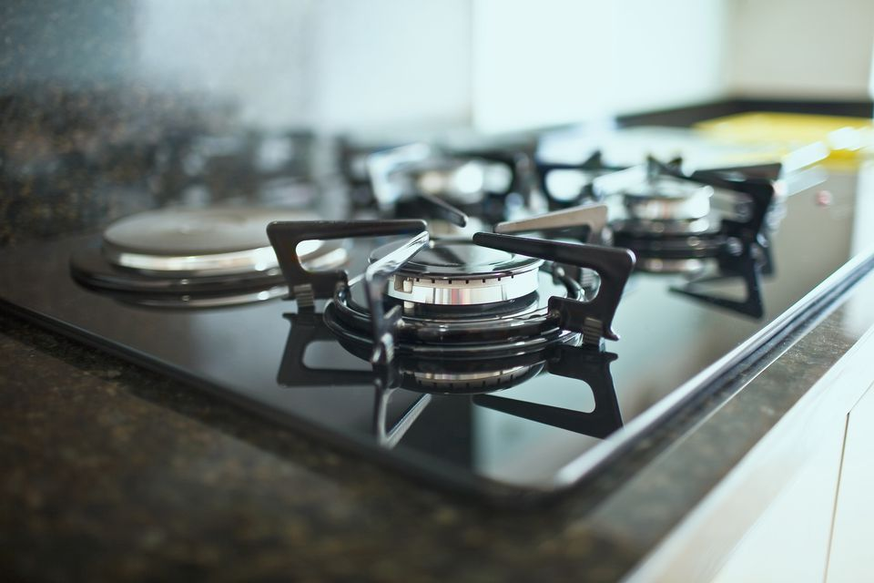 Close-up of a gas stove burner