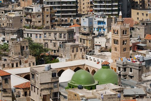 The Grand Mosque and other buildings in the dense old city of Tripoli, Lebanon