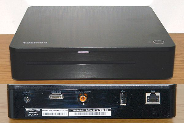 Toshiba Symbio BDX6400 Media Box Blu-ray Disc Player - Photo of Front and Rear Views