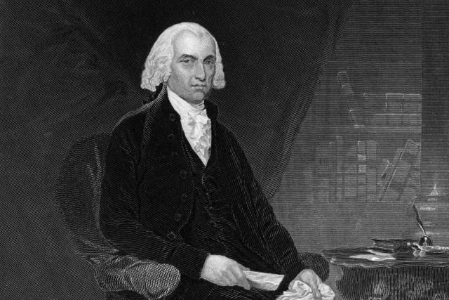 Engraved portrait of President James Madison