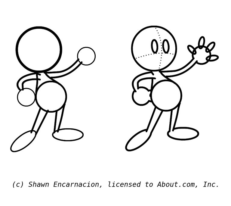 draw the characters hands and begin the face draw cartoon hands