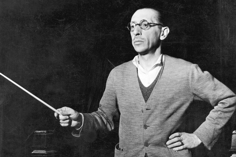 gor Stravinsky conducting, Russian-born composer, c1920.