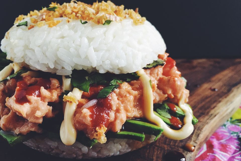 Spicy Tuna and Avocado Sushi Burger