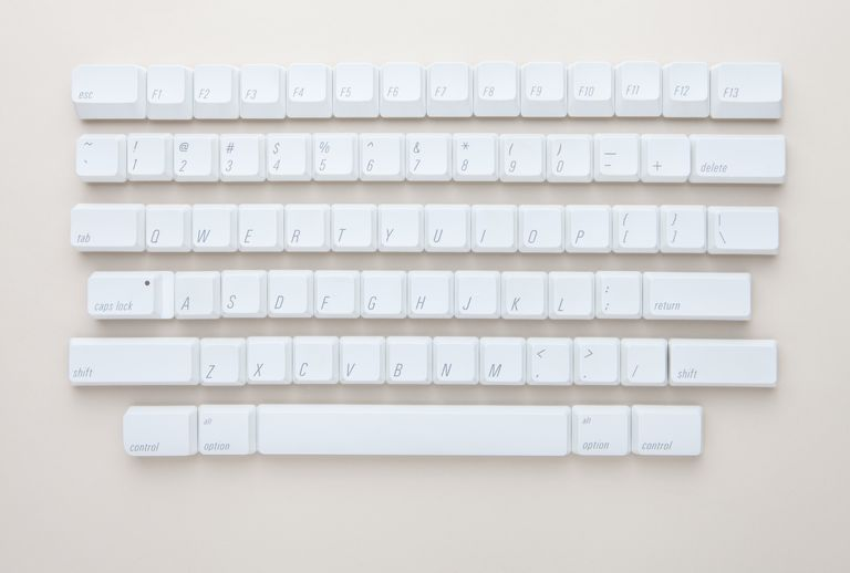 detached keyboard keys on a white background