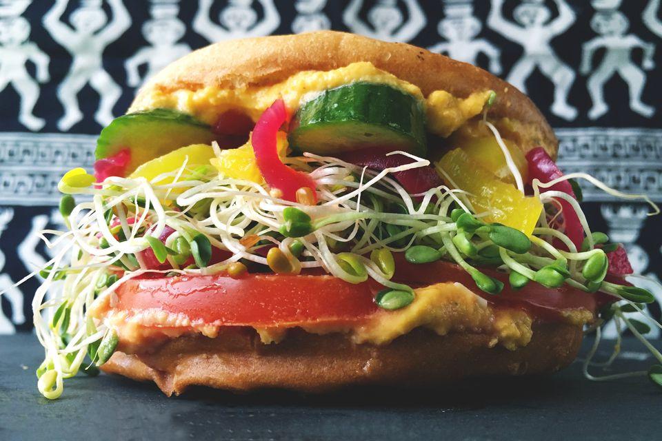 Spicy Carrot Hummus Vegetarian Sandwich