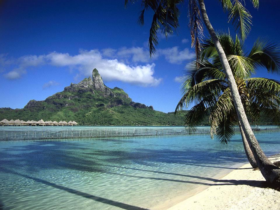 A beach scene in Bora Bora