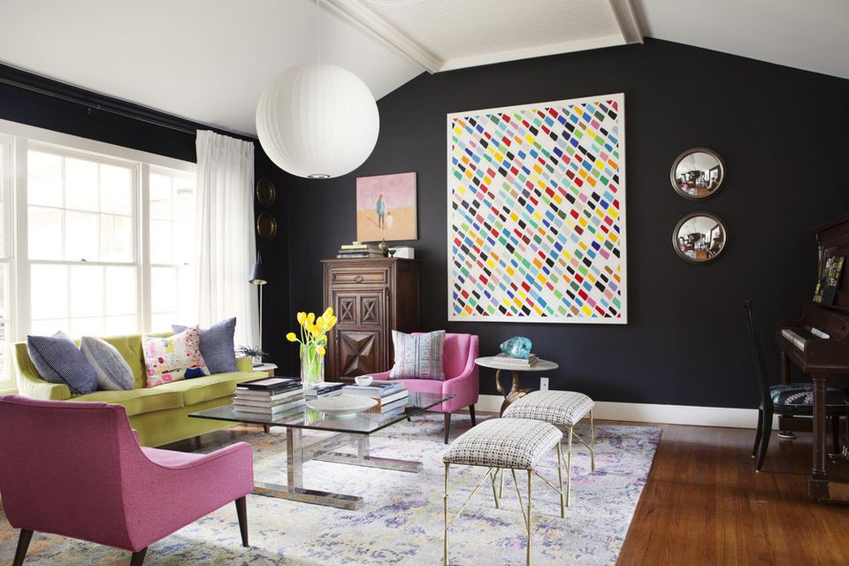 black walls and colorful furniture