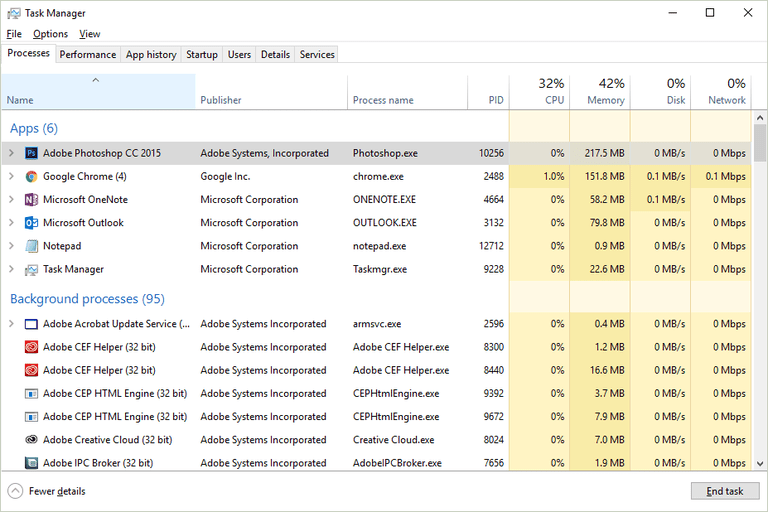 Screenshot of the Processes tab in Task Manager in Windows 10