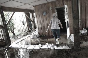 Surveying storm damage