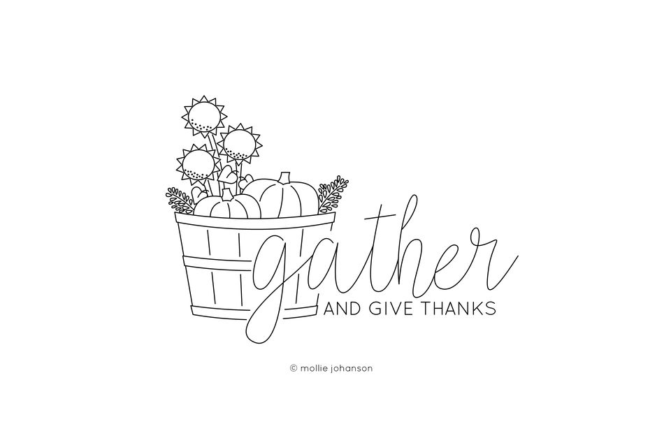 Gather and Give Thanks Embroidery Pattern