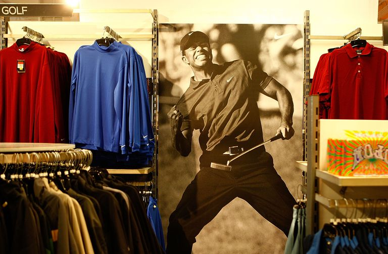 A Nike Golf display featuring Tiger Woods and his victory at the 2008 U.S. Open is shown at a Nike factory store