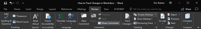 The Microsoft Word Review ribbon