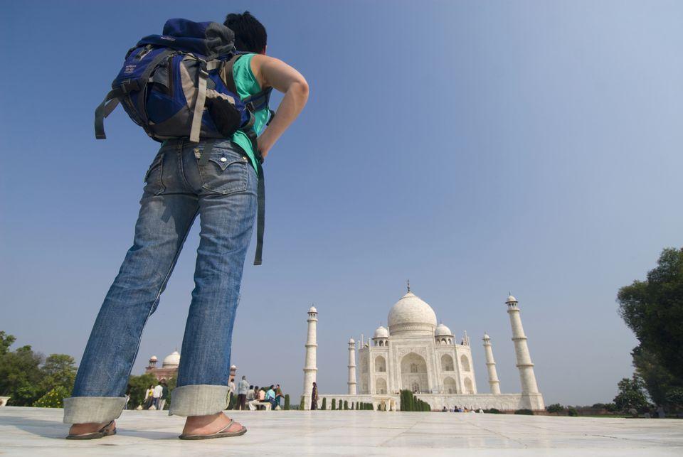 Backpacker at Taj Mahal.