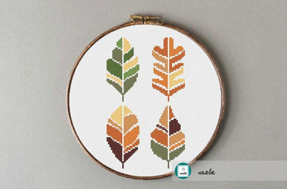 10 Fall Leaf Inspired Cross Stitch Patterns