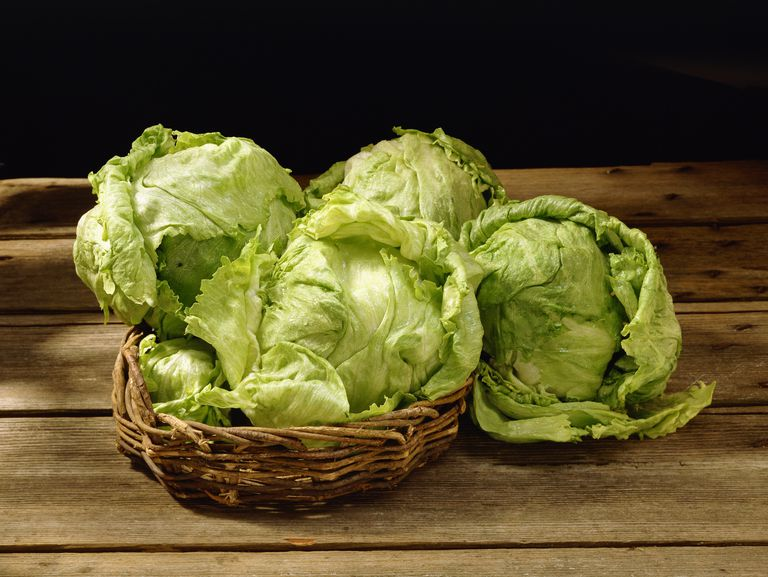 Iceberg lettuce in basket