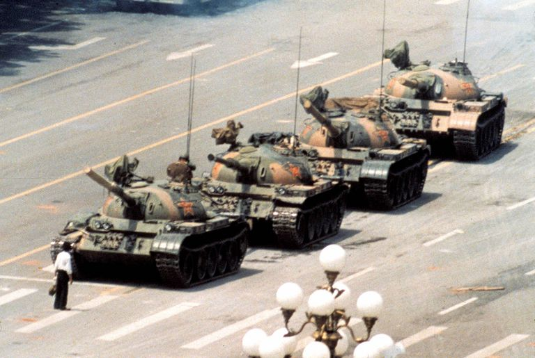 "The iconic ""Tank Man"" photo from the Tiananmen Square Massacre. Beijing, China (1989)."