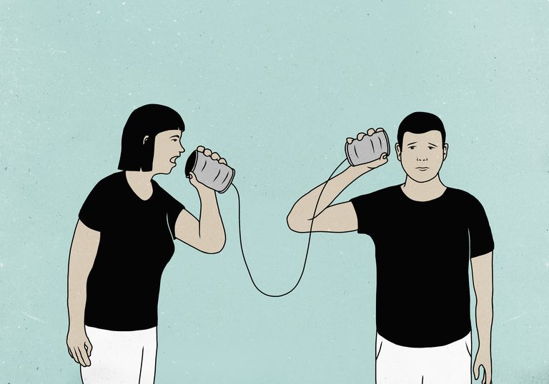 Illustration of couple communicating through tin-can phones against colored background